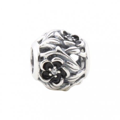 "Бусина PANDORA ""Black Enamel Flower"""