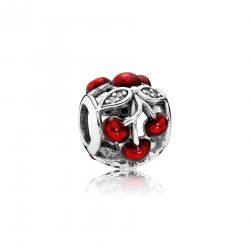 Черешня- SWEET CHERRIES, GLOSSY RED ENAMEL & CLEAR CZ No.791900EN73