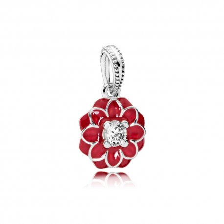 Коштовна ківітка- ORIENTAL BLOOM, RED ENAMEL & CLEAR CZ No.791829CZ