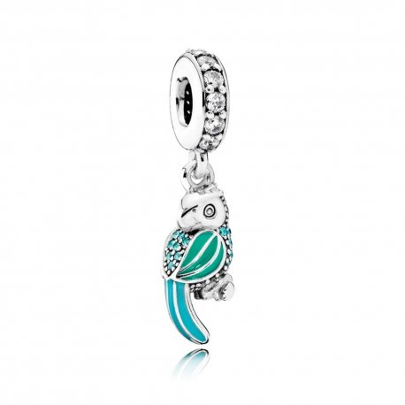 Тропічний папуга TROPICAL PARROT, MIXED ENAMELS, TEAL & CLEAR CZ No.791903ENMX