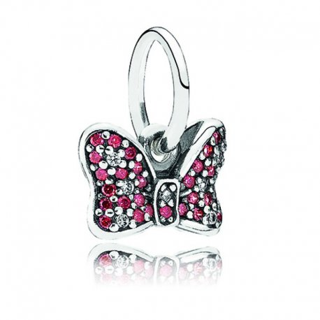 Кулон PANDORA Disney, Minnie's Sparkling Bow Dangle Charm, Red & Clear CZ Item #791556CZR