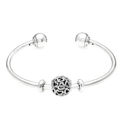 PANDORA Silver Open Heart Gift Bangle